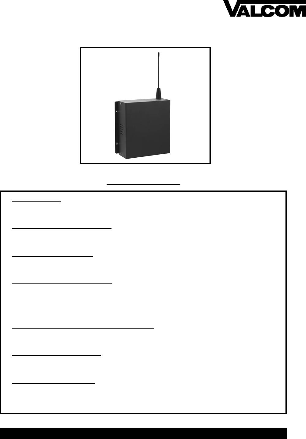 V WMCR Repeater Installation Manual Rev 1.04 Valcom Wireless Valcom Watt Wiring Diagram on