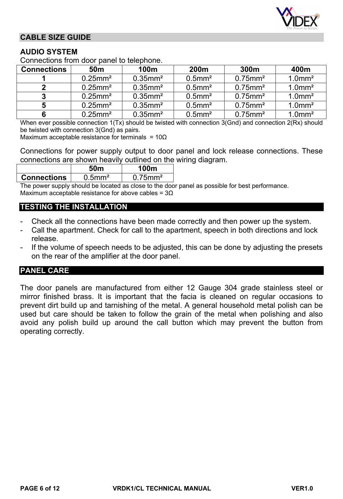 Vrdk1clmanual Videx Vrdk1cl Manual With Codelock Wiring Diagram Page 6 Of 12