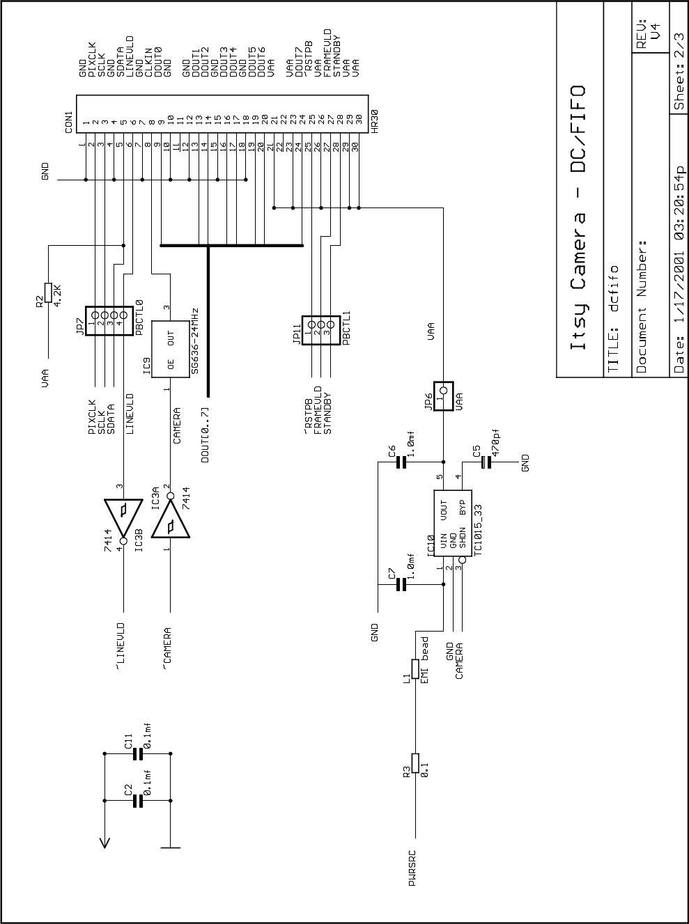 A Simple Cmos Camera For Itsy Wrl Tn 58 7414 Inverter Oscillator Circuit Technical Note