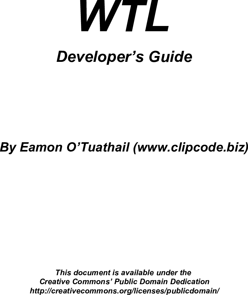 WTL Developer's Guide
