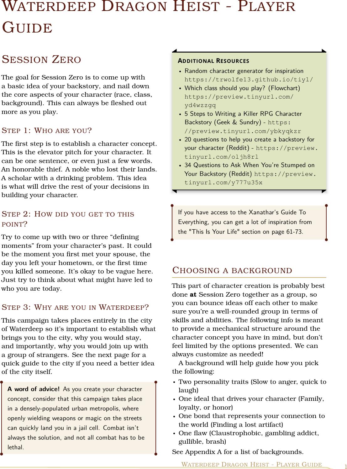 Waterdeep Dragon Heist Player Guide