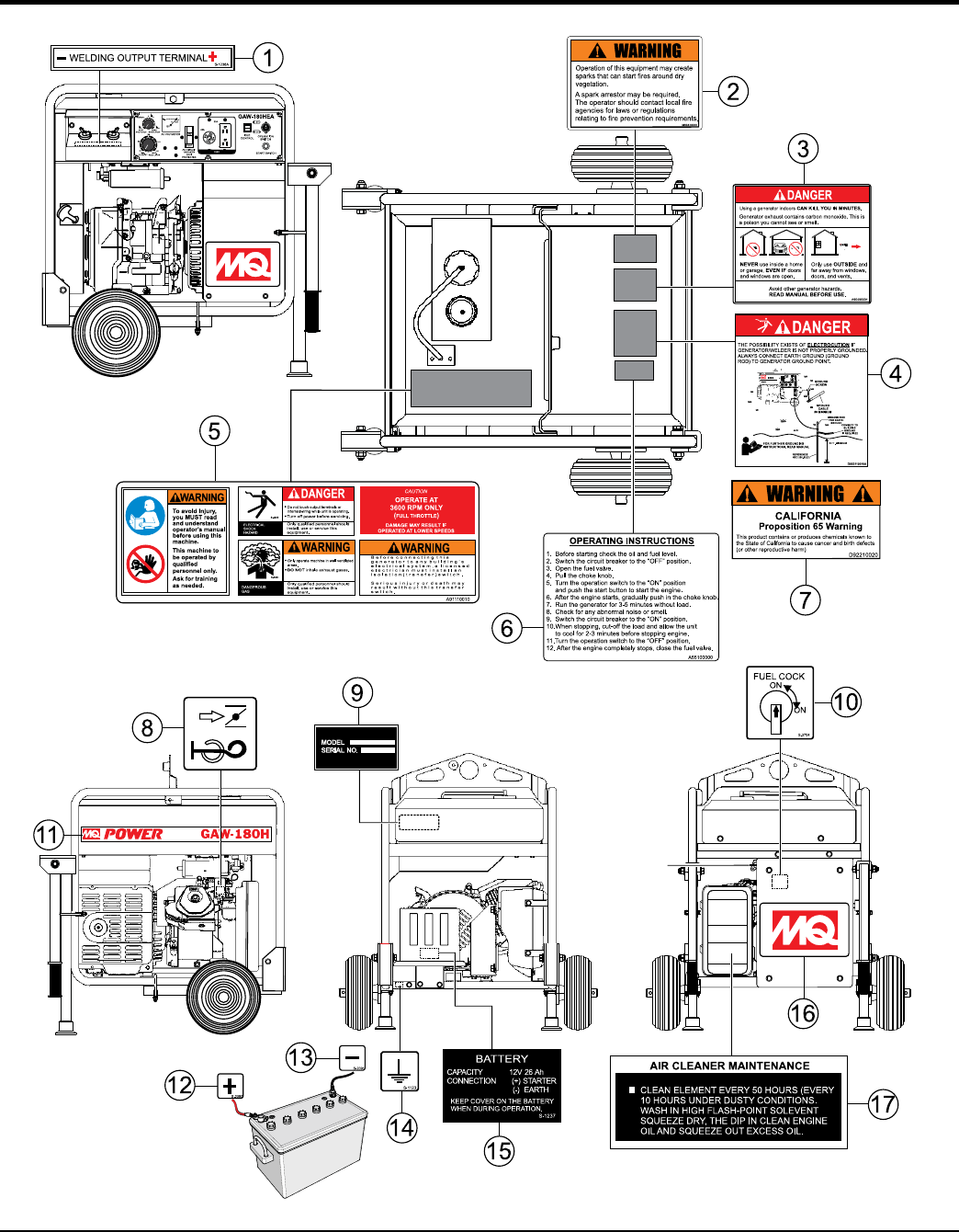 Generators And Welders Gaw180he Welder Series Rev 0 Manual Data Id Welding Generator Diagram Page 46 Gaw180 Operation Parts 06 02 15