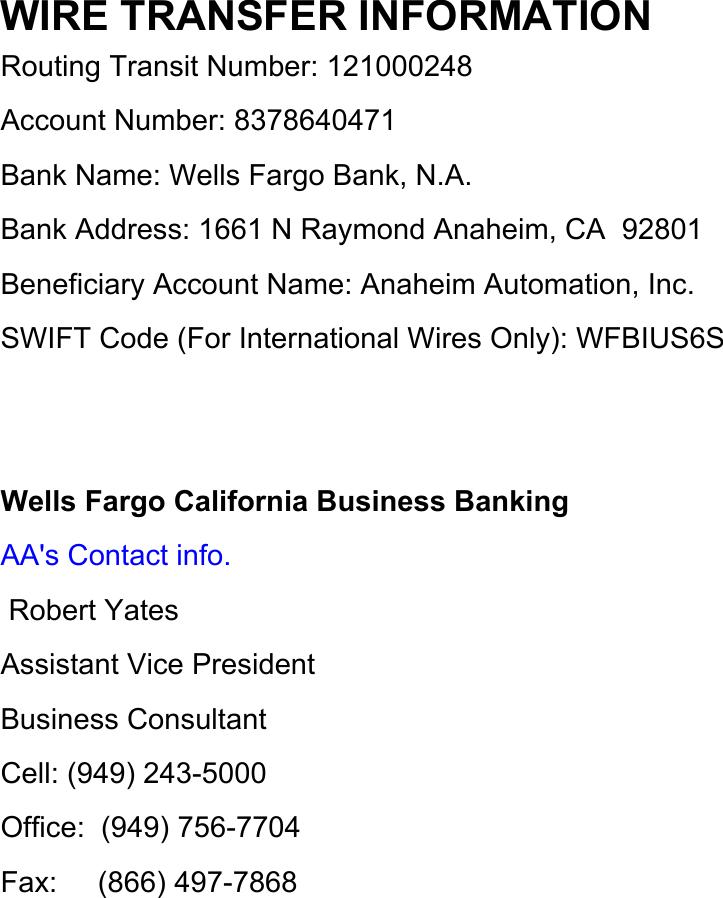 Info Wells Fargo Bank
