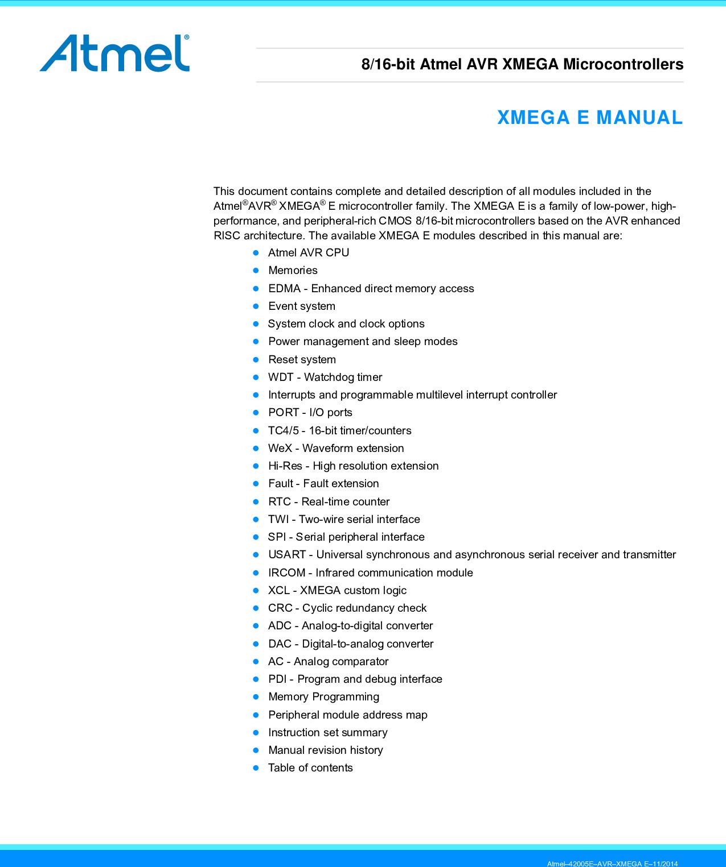 Atmel AVR XMEGA E Manual