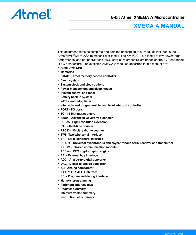 Atmel AVR XMEGA A Manual