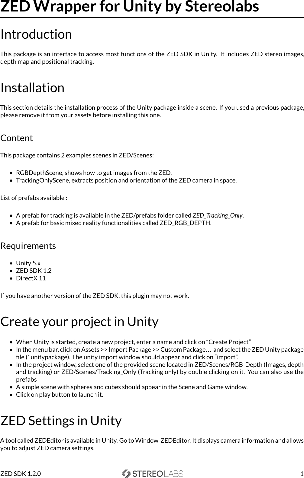 ZED Unity User Guide