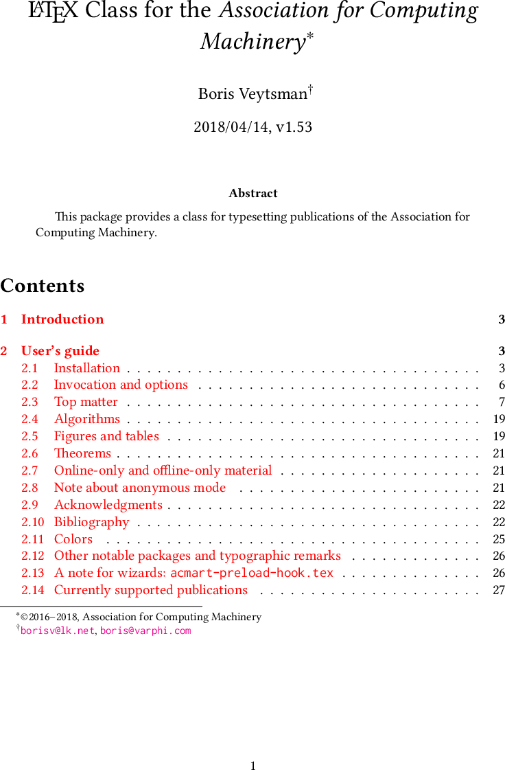 LaTeX Class For The Association Computing Machinery Acmart