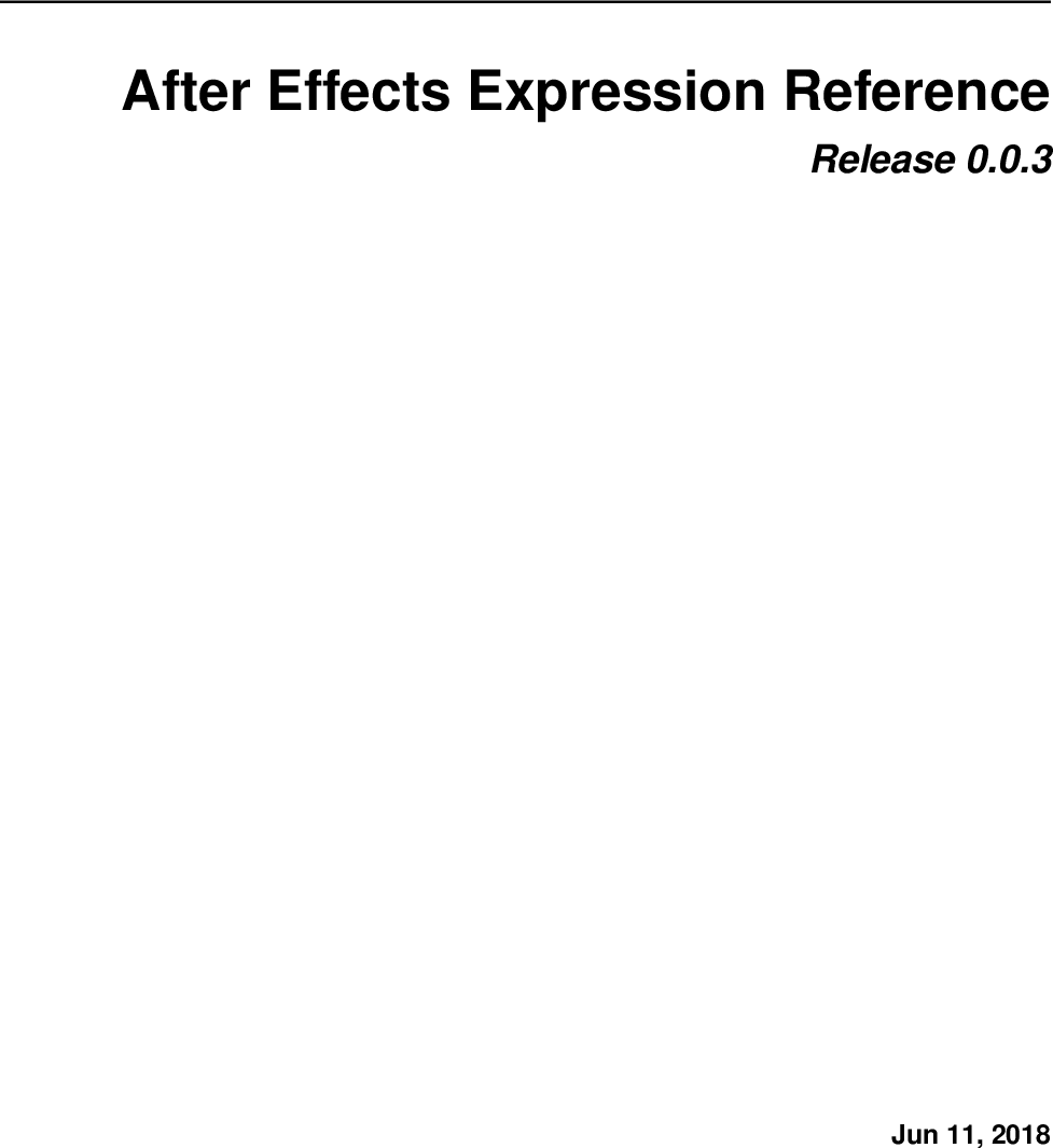 After Effects Expression Reference expressions guide