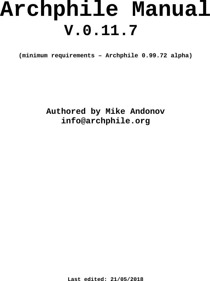 Archphile manual