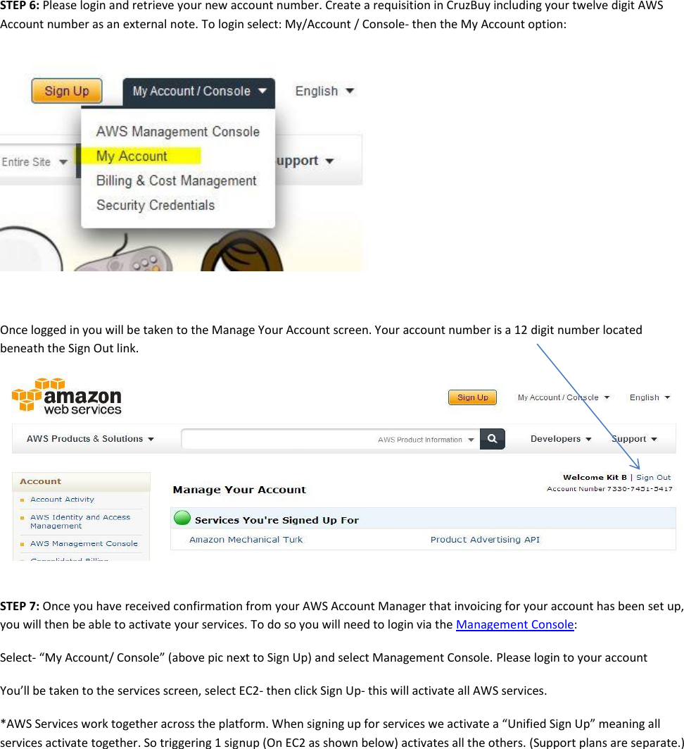 Aws signup instructions
