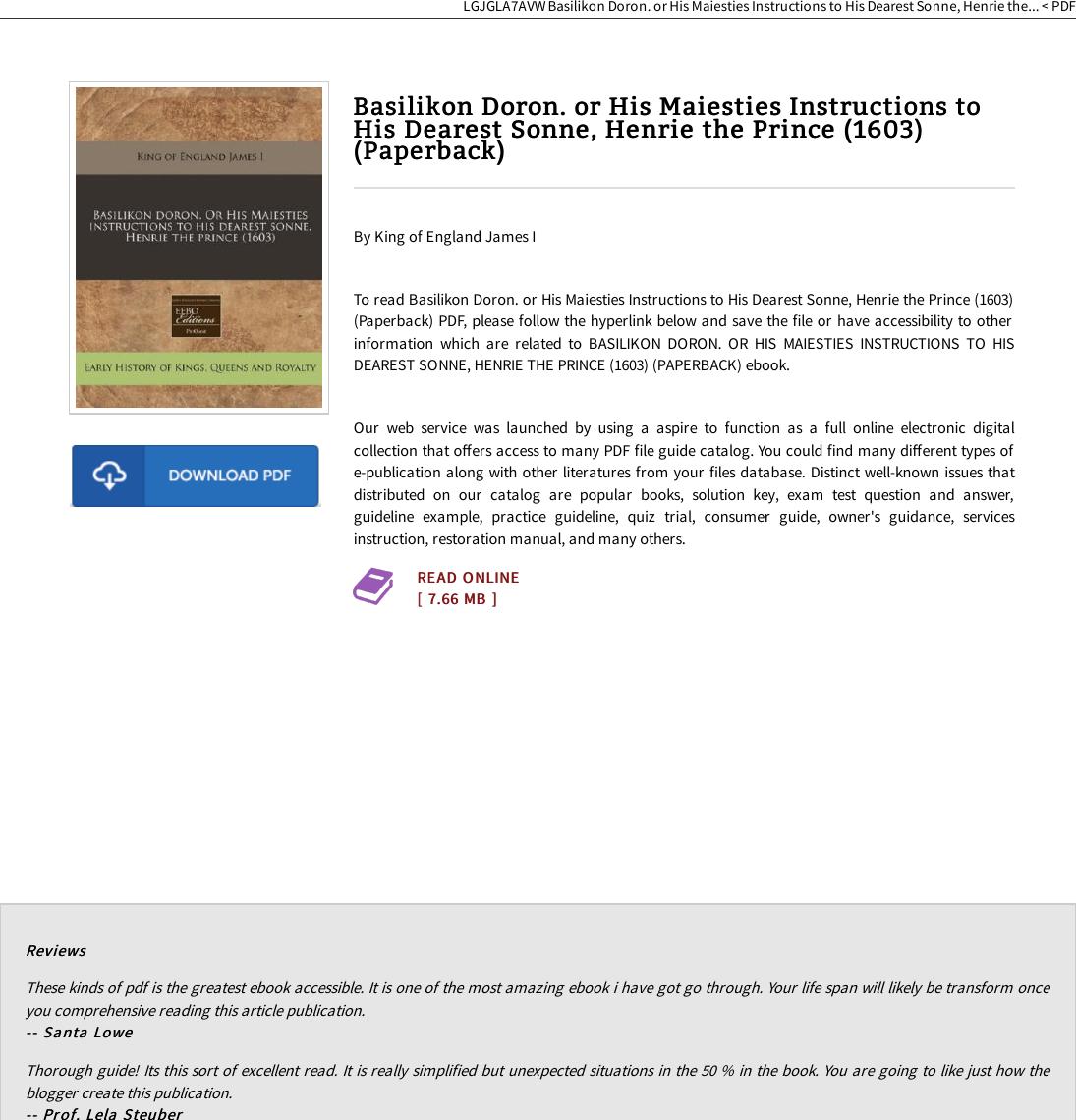 PDF # Basilikon Doron  Or His Maiesties Instructions To Dearest
