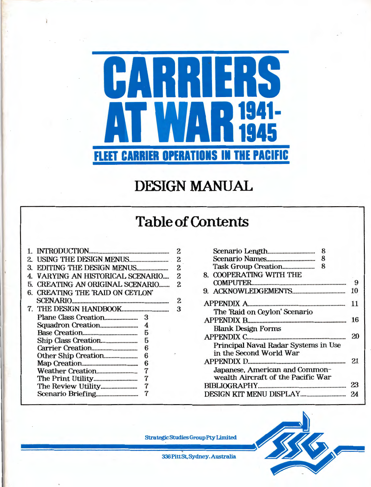 Carriers At War Design Manual