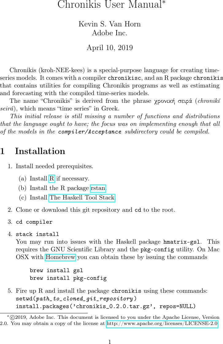 Chronikis manual