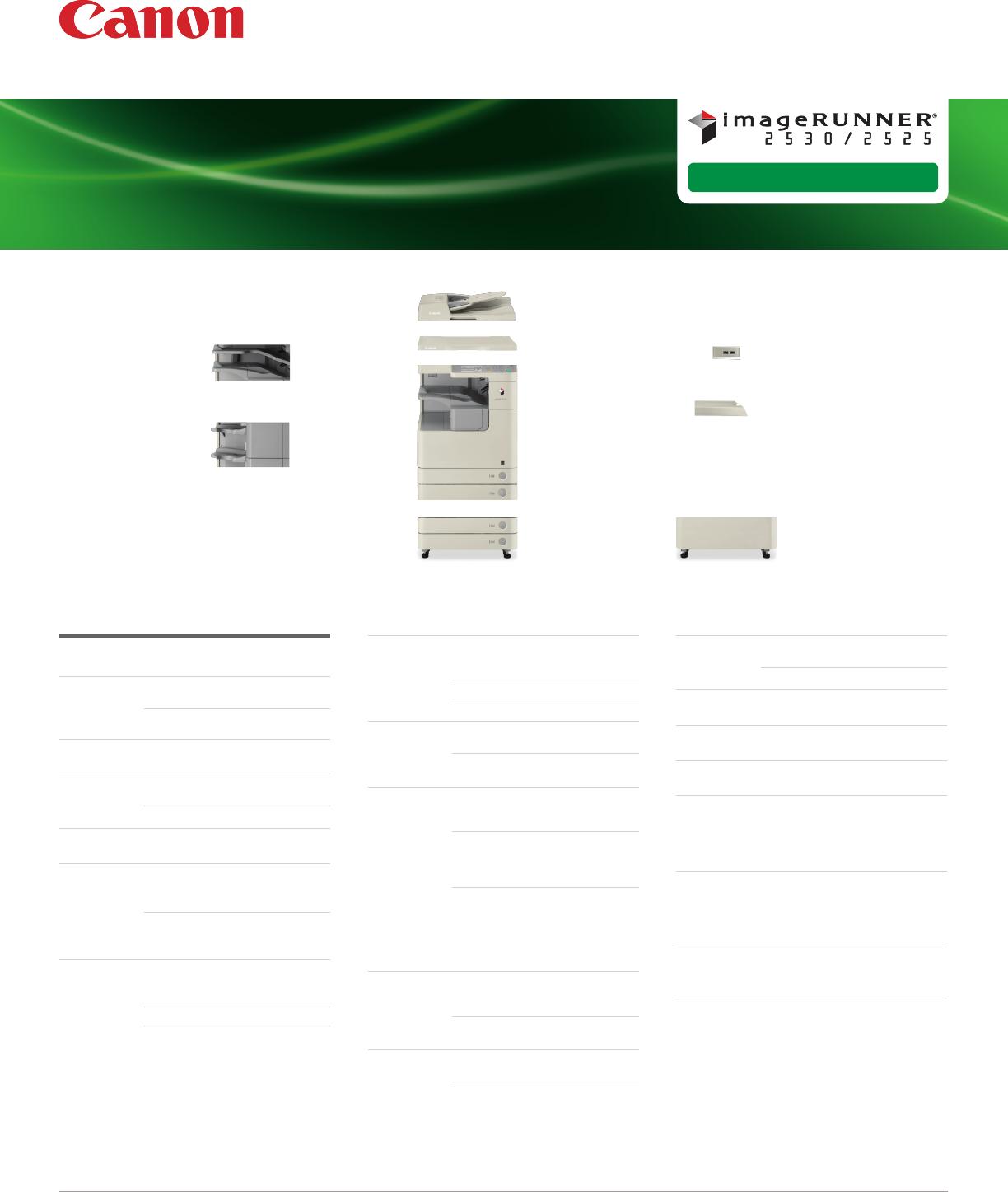 IMAGERUNNER 2525 Copier I R2530 Spec Sheet High Res