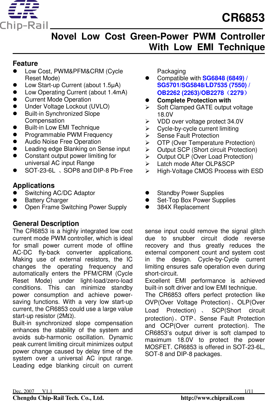 CR6853 Datasheet  Www s manuals com  Chip rail