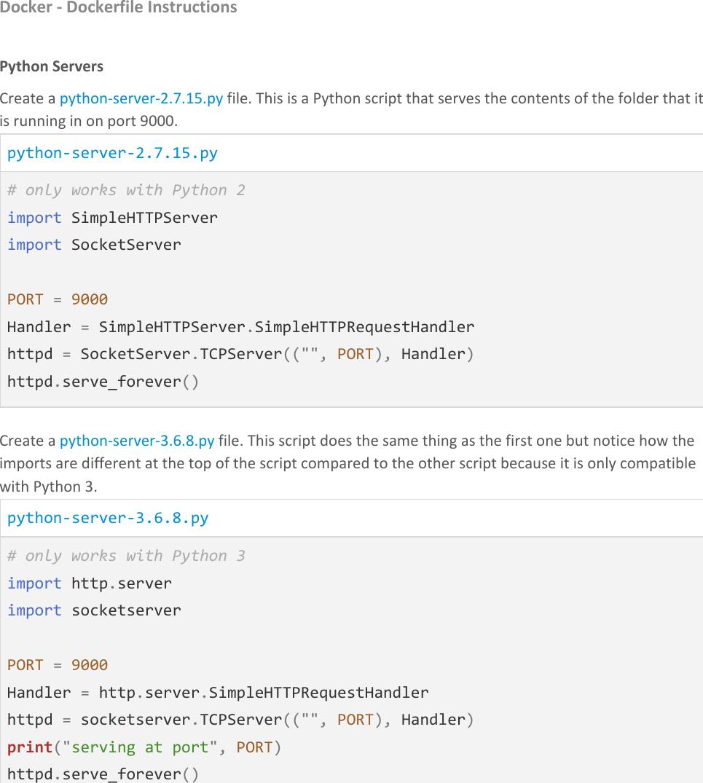 Docker 04 Dockerfile Instructions Handout