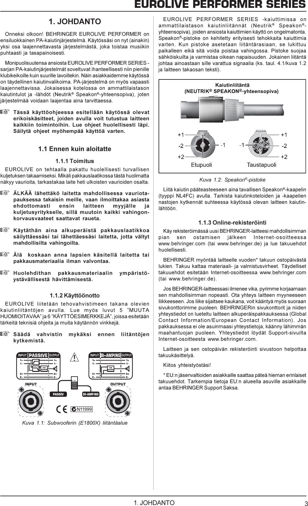 BEHRINGER CX2310 kytkennät