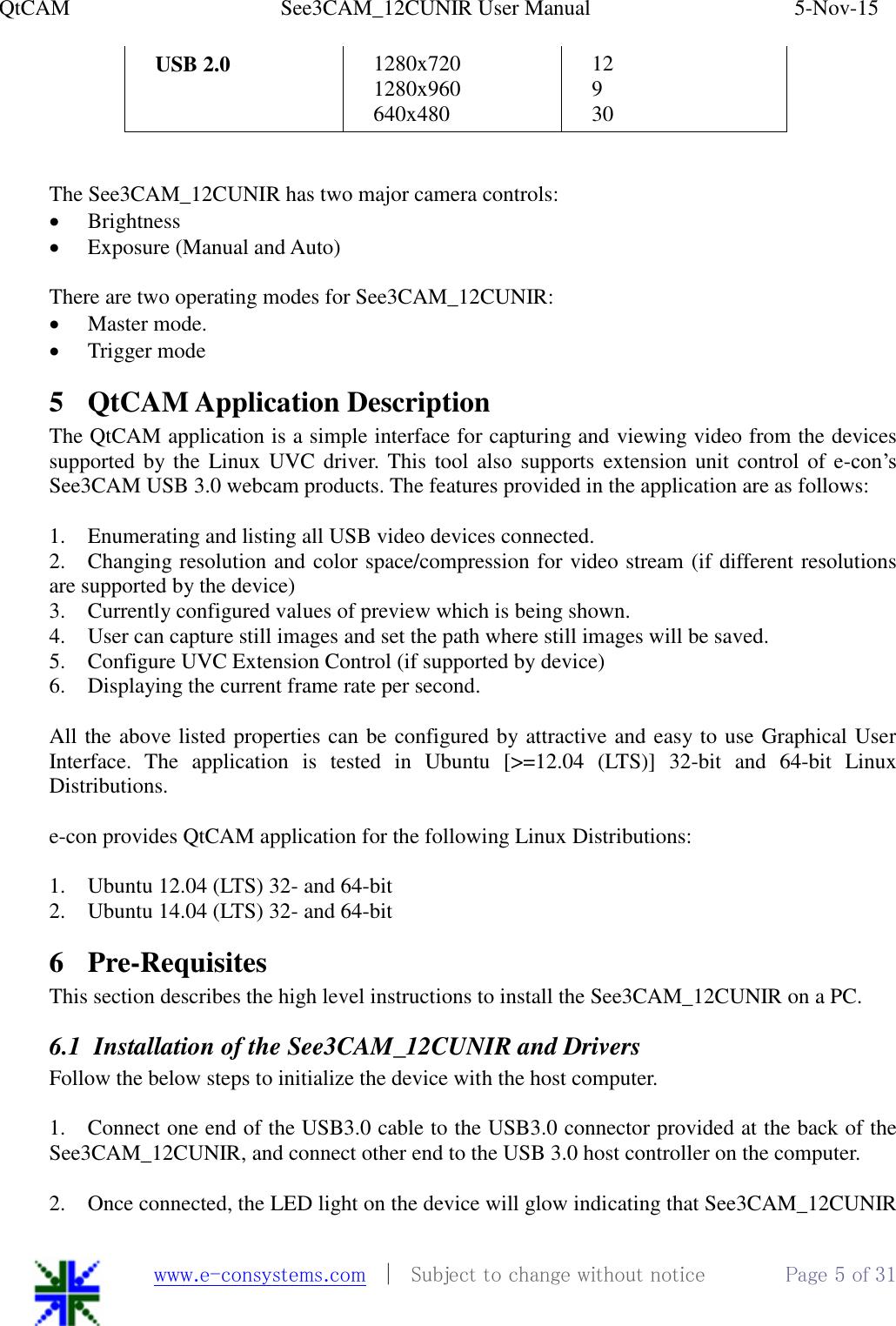 E con See3CAM 12CUNIR Linux SW App User Manual