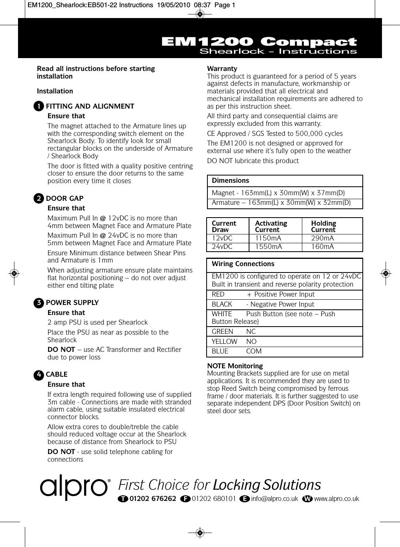 Av Offer.05 Em1200 compact shearlock installation instructions on