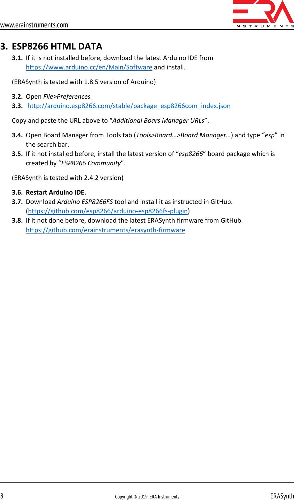 Www erainstruments com Erasynth firmware update instructions