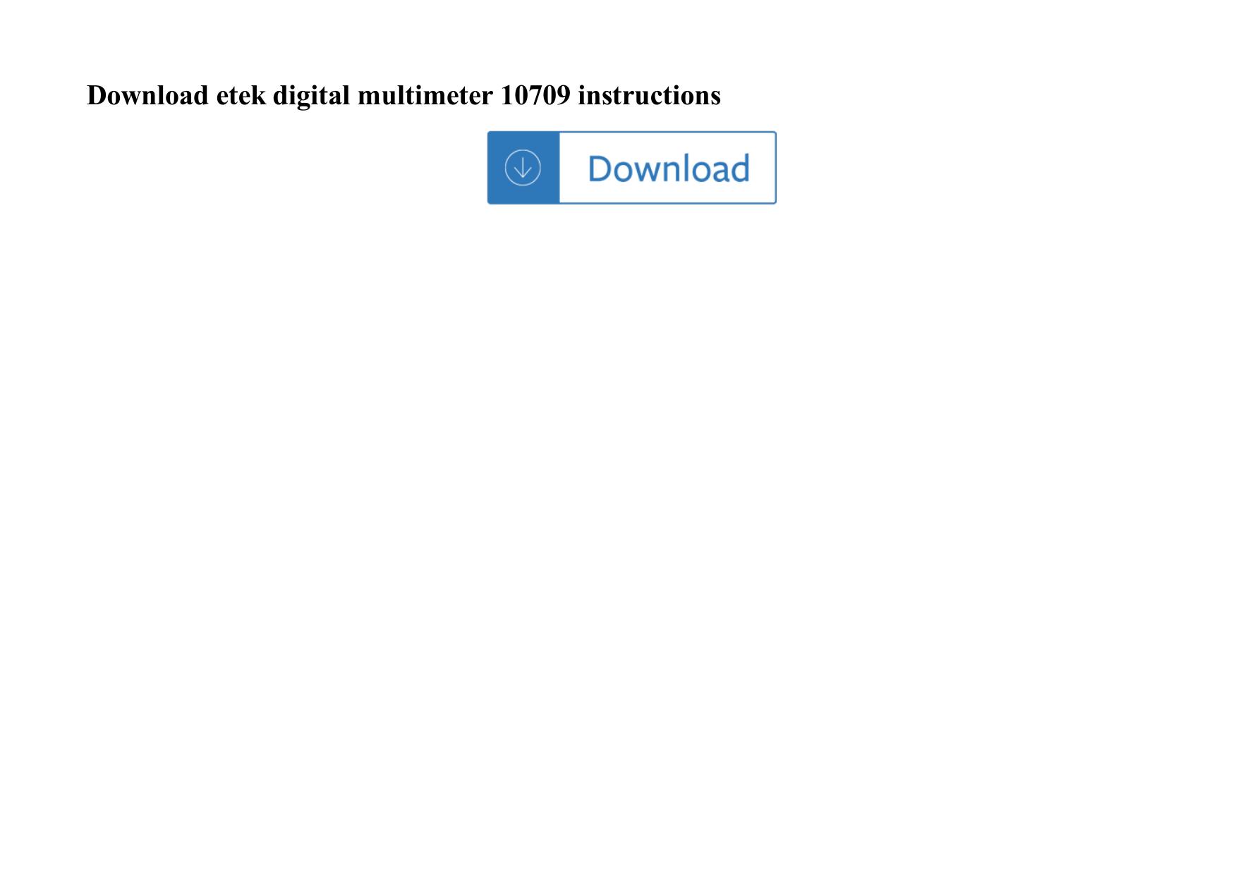 Etek Digital Multimeter 10709 Instructions
