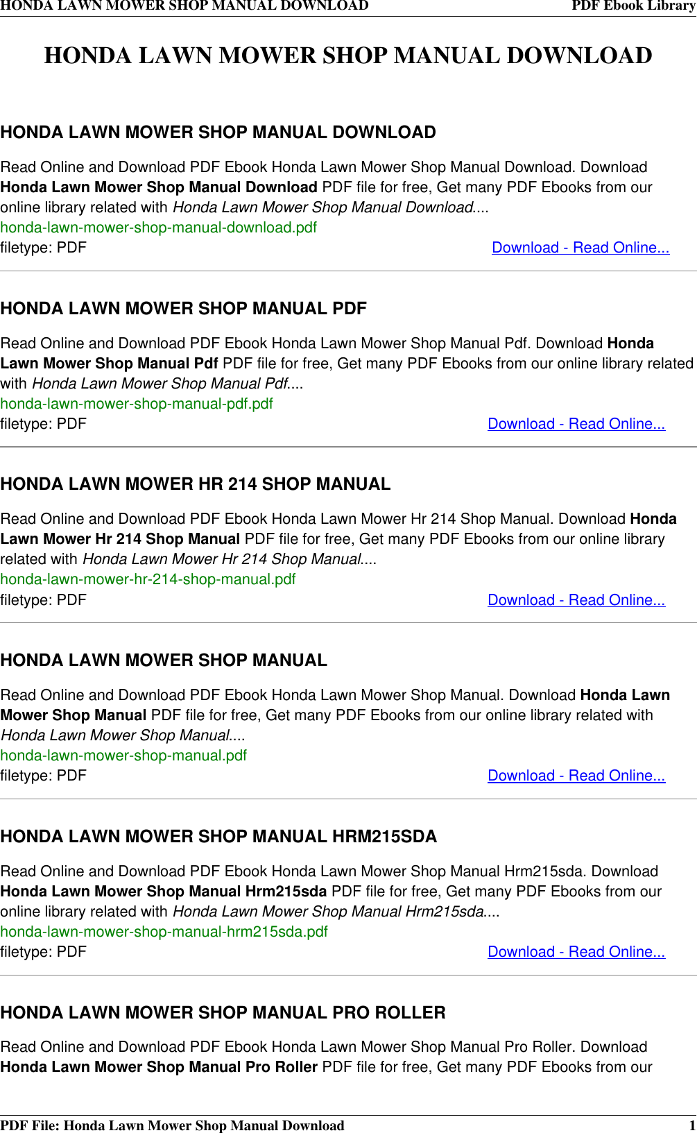 honda manual book download ebook