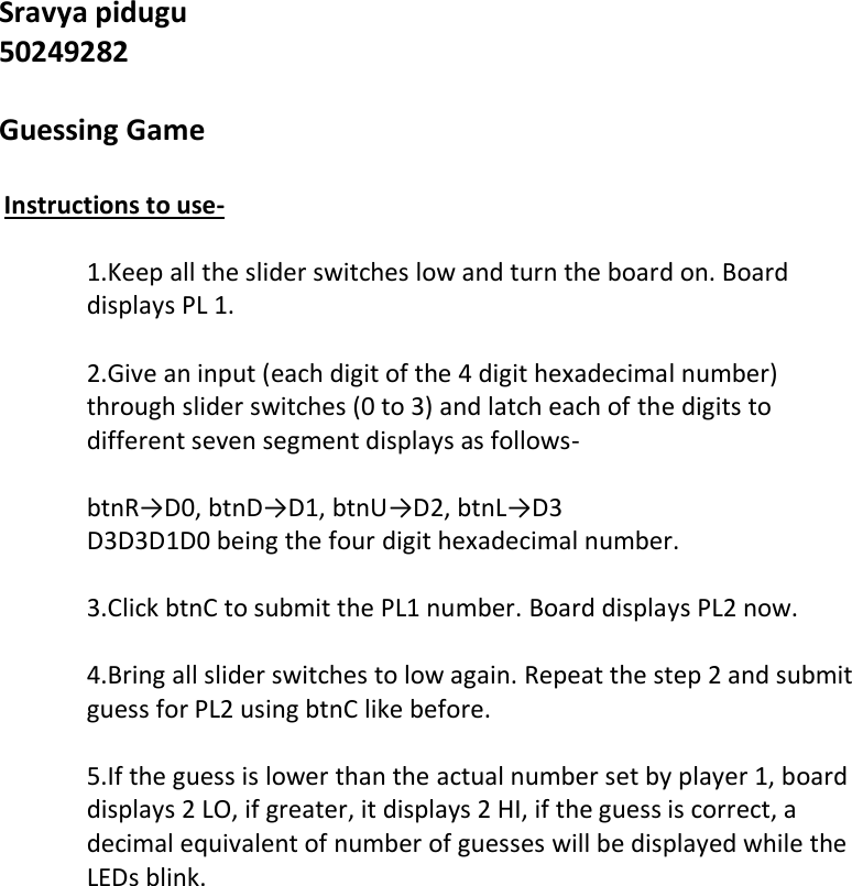 Game instructions