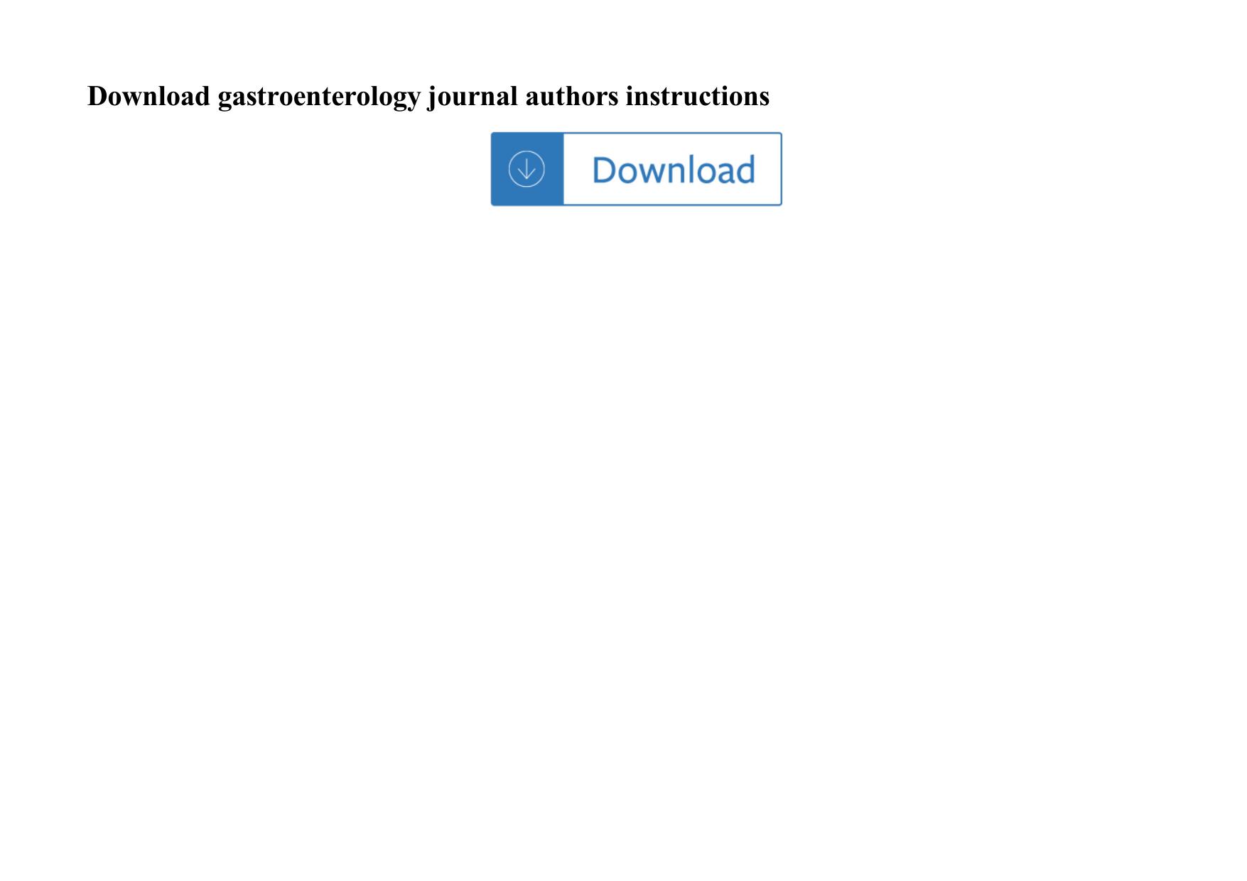 Gastroenterology Journal Authors Instructions