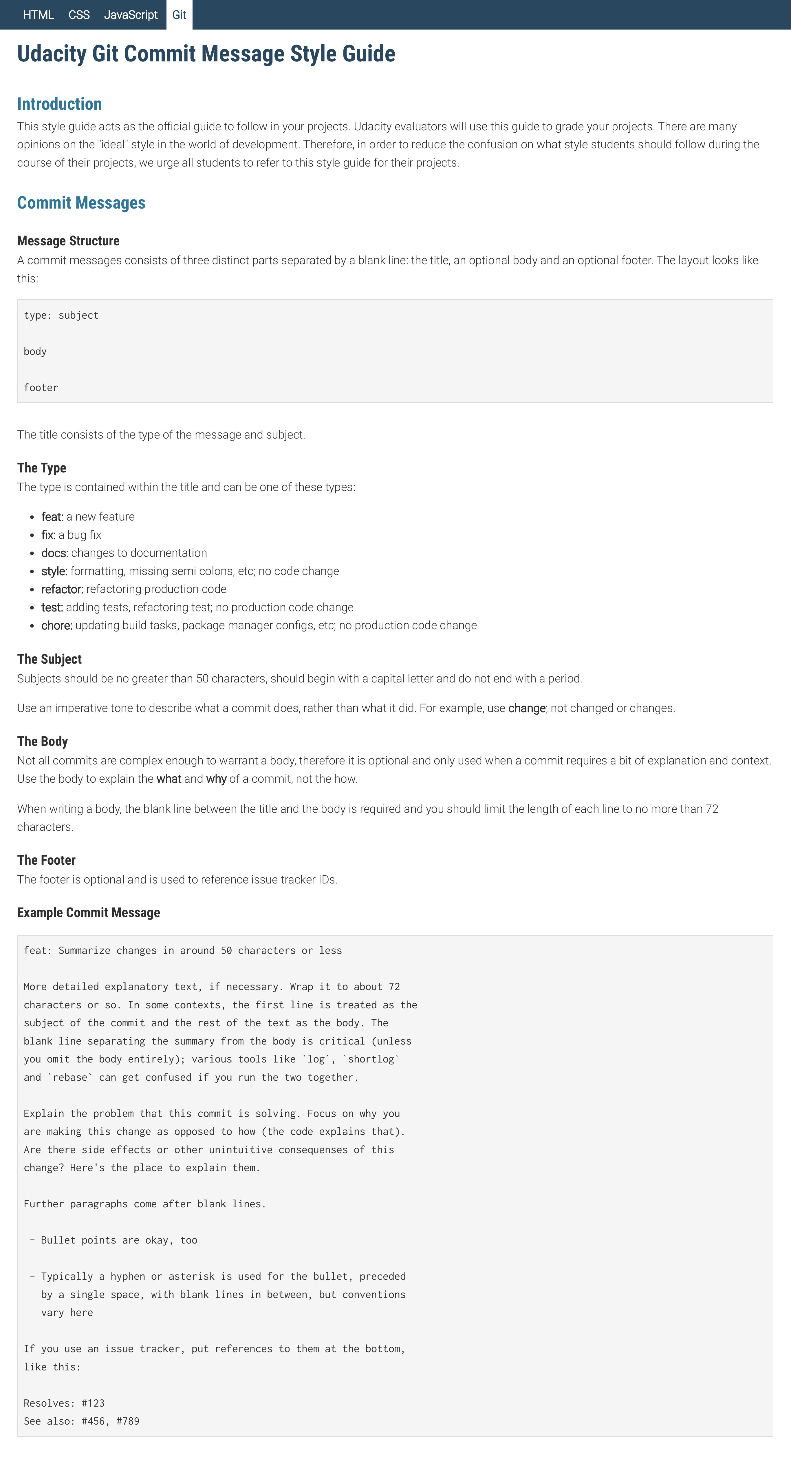 Git udacity nanodegree style guide