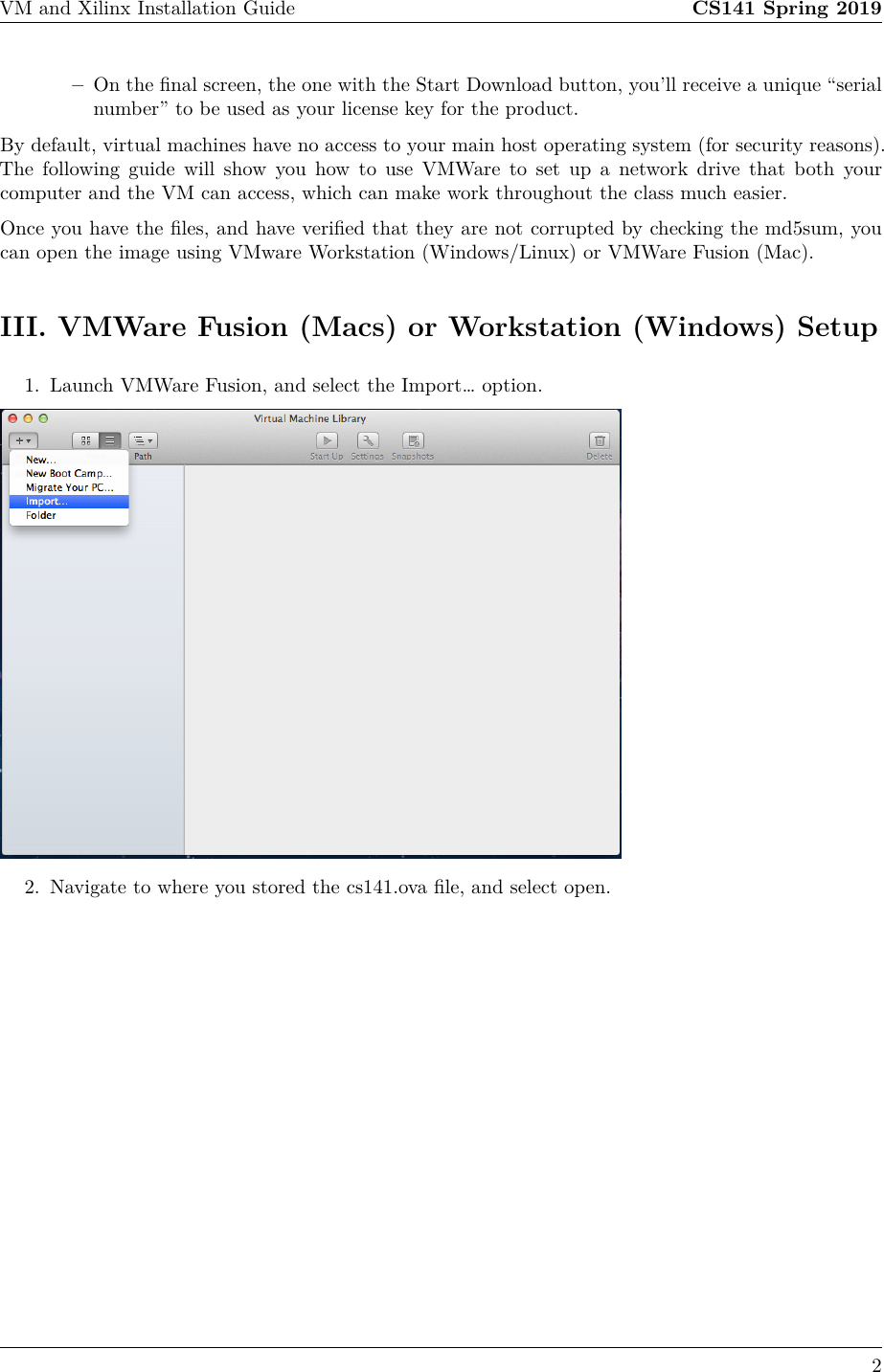 VM And Xilinx Installation Guide