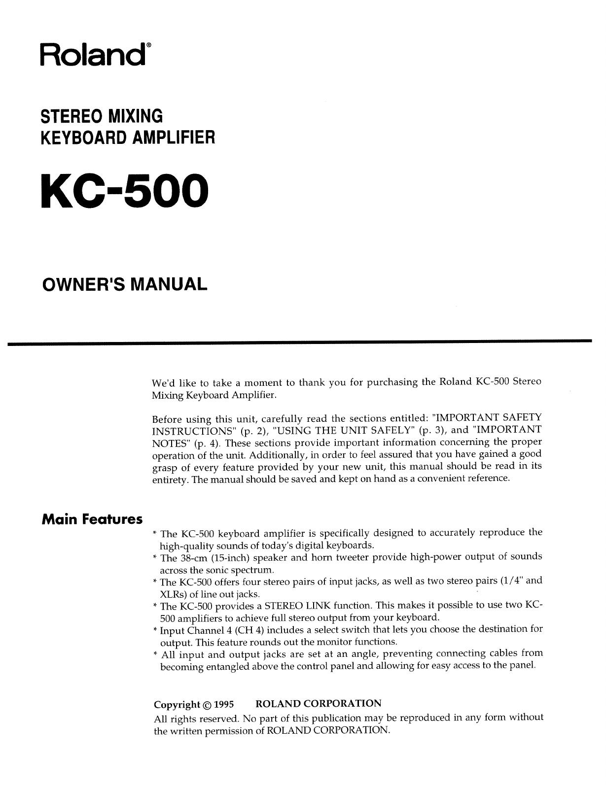 Roland Corporation KC 500 Owner's Manual Om