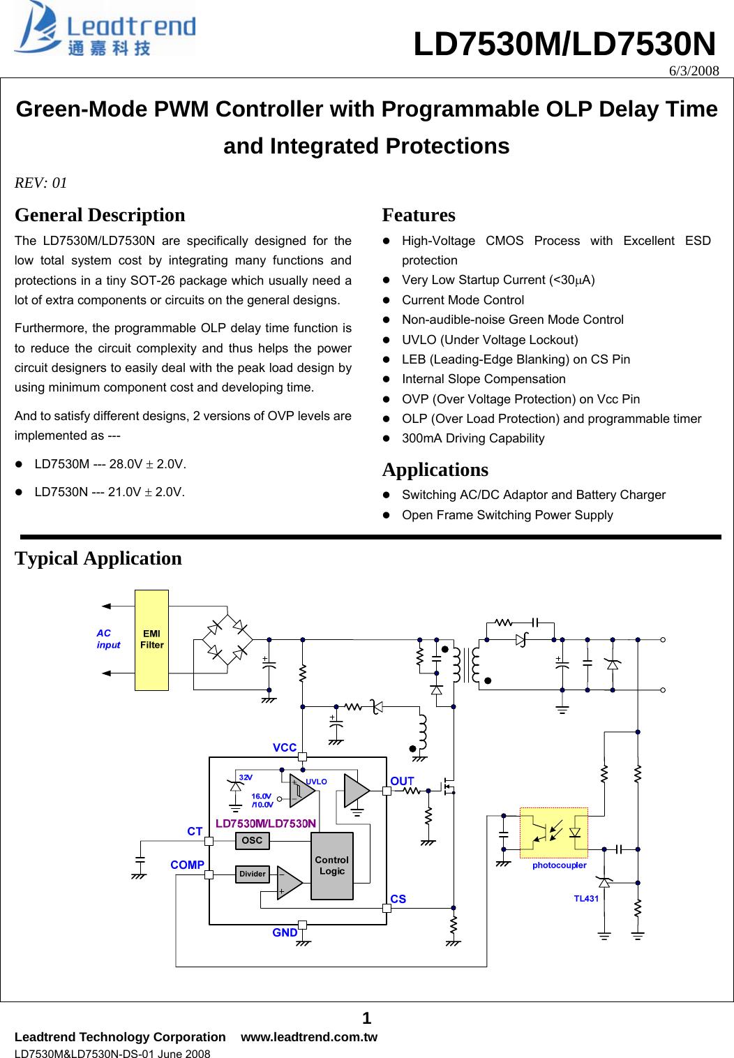 Ld7530m Ld7530n Datasheet S Manualscom Leadtrend Undervoltage Lockout Circuit