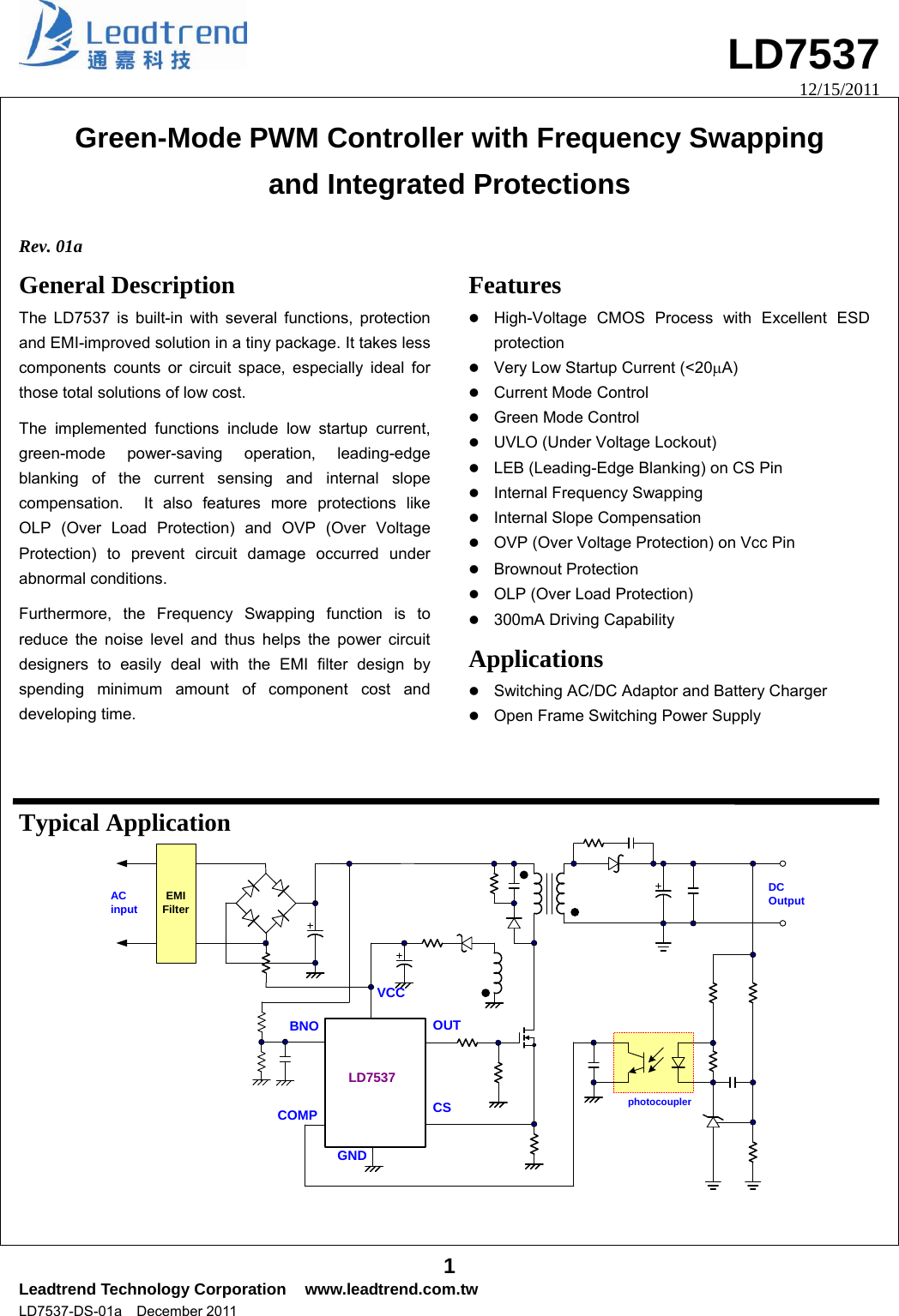 Ld7537 Datasheet S Manualscom R01a Leadtrend Over Voltage And Low Protection Circuit