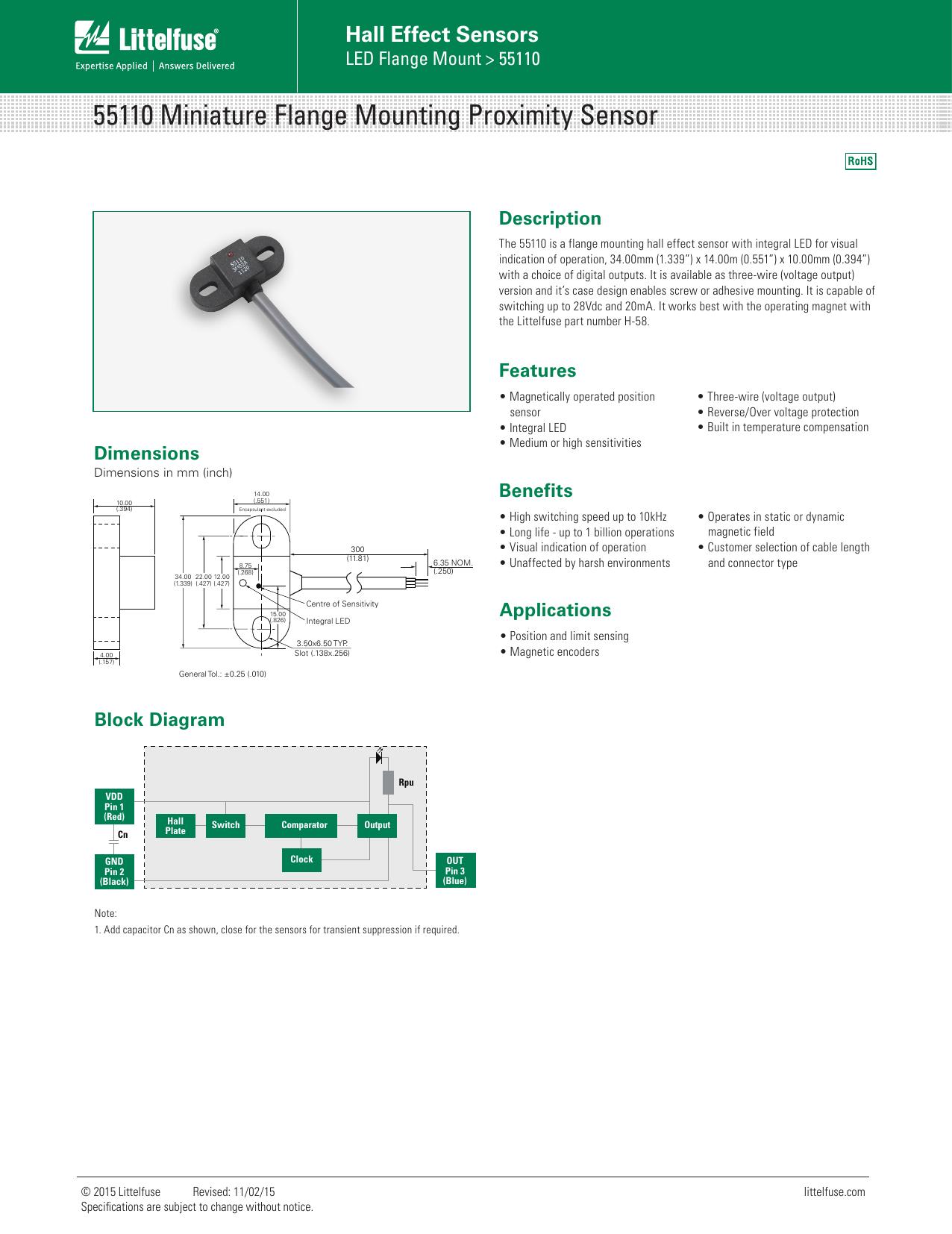 Littelfuse Hall Effect Sensors 55110 Datasheet Diagram