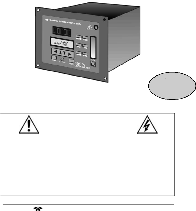OPERATING INSTRUCTIONS FOR Teledyne Oxygen Equipment 3000TA Man ...