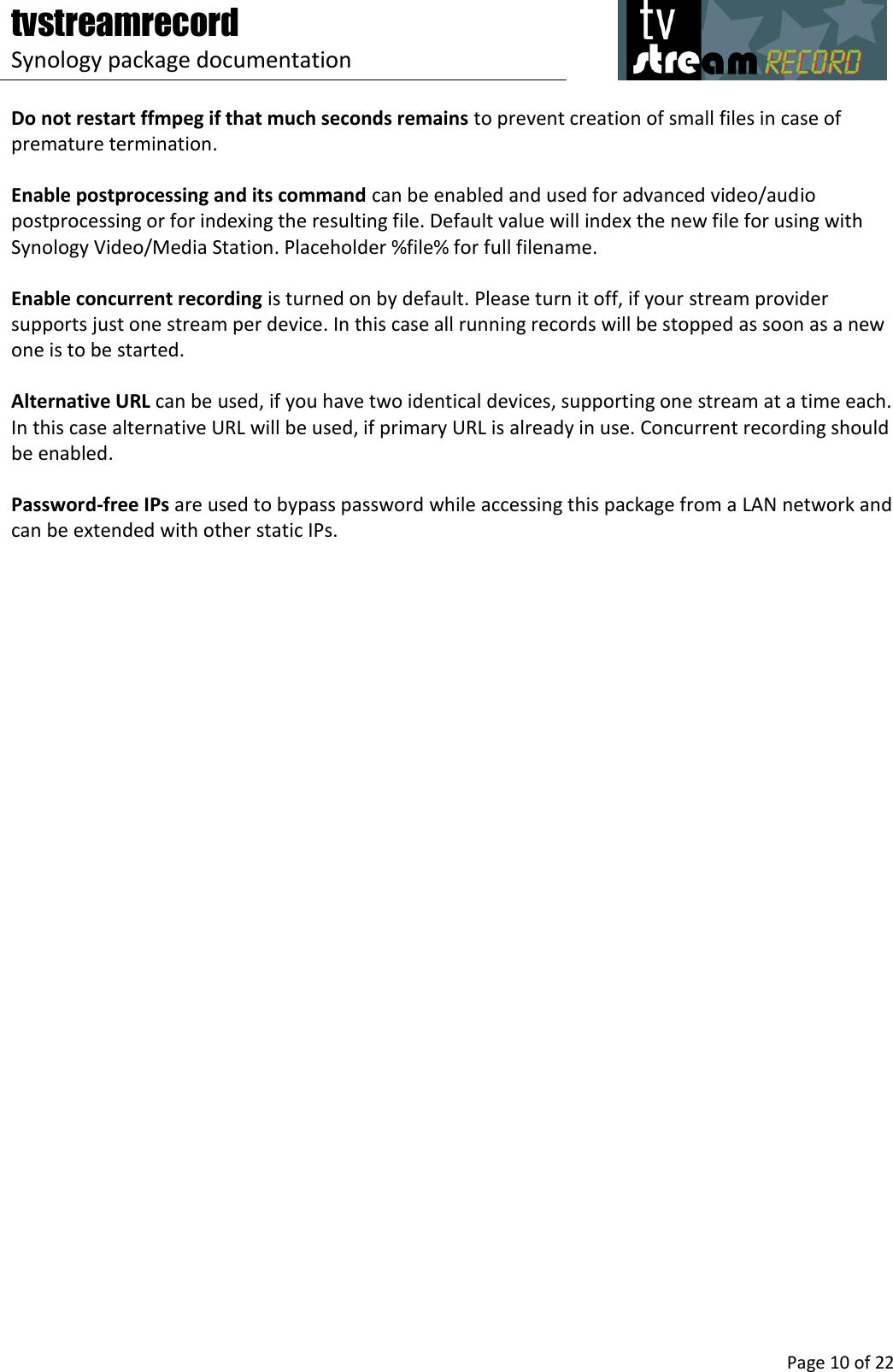 Tvstreamrecord Manual