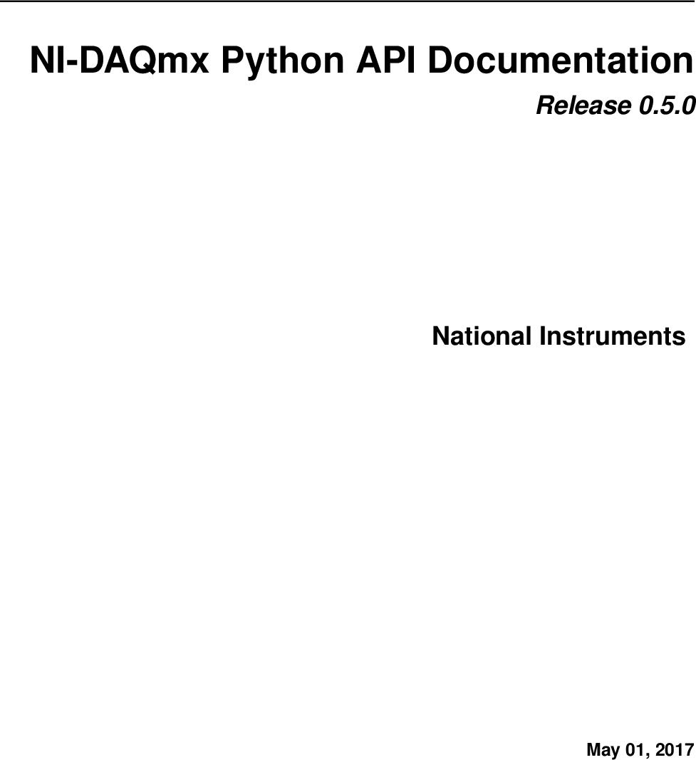 NI DAQmx Python API Ation Manual Nidaqmx