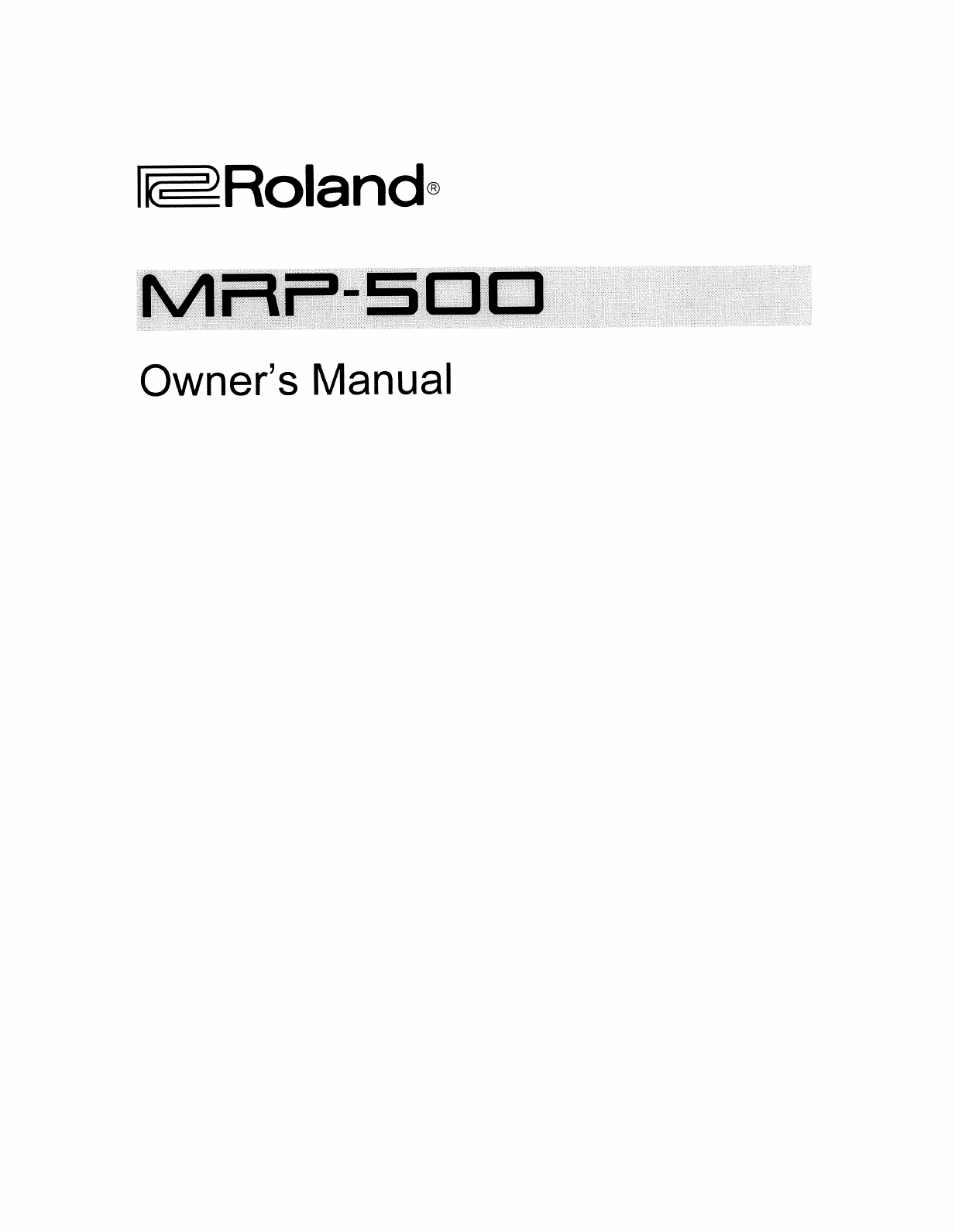 Roland Corporation MRP 500 Owner's Manual Om