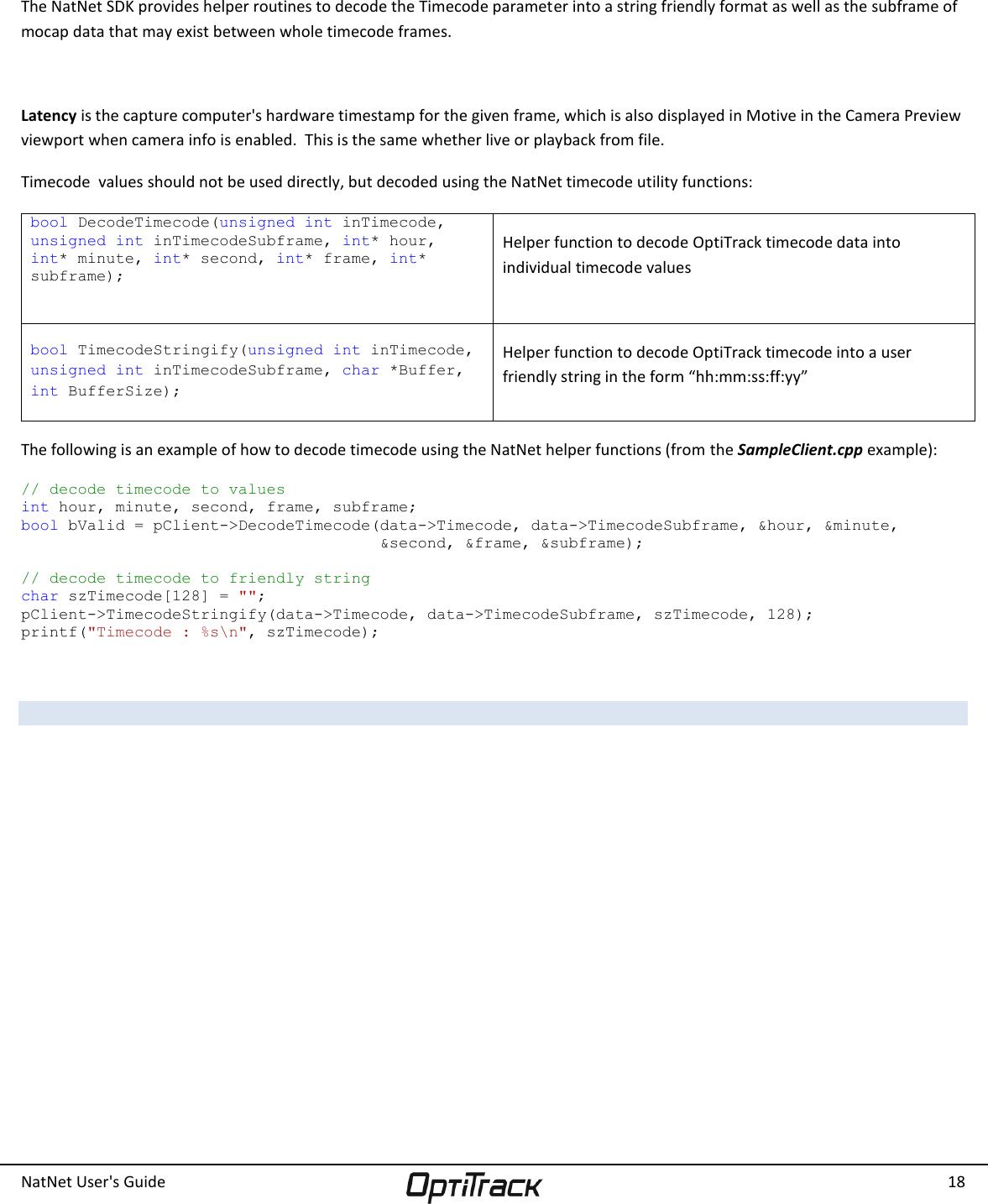 NatNet User's Guide api user 2 10 0