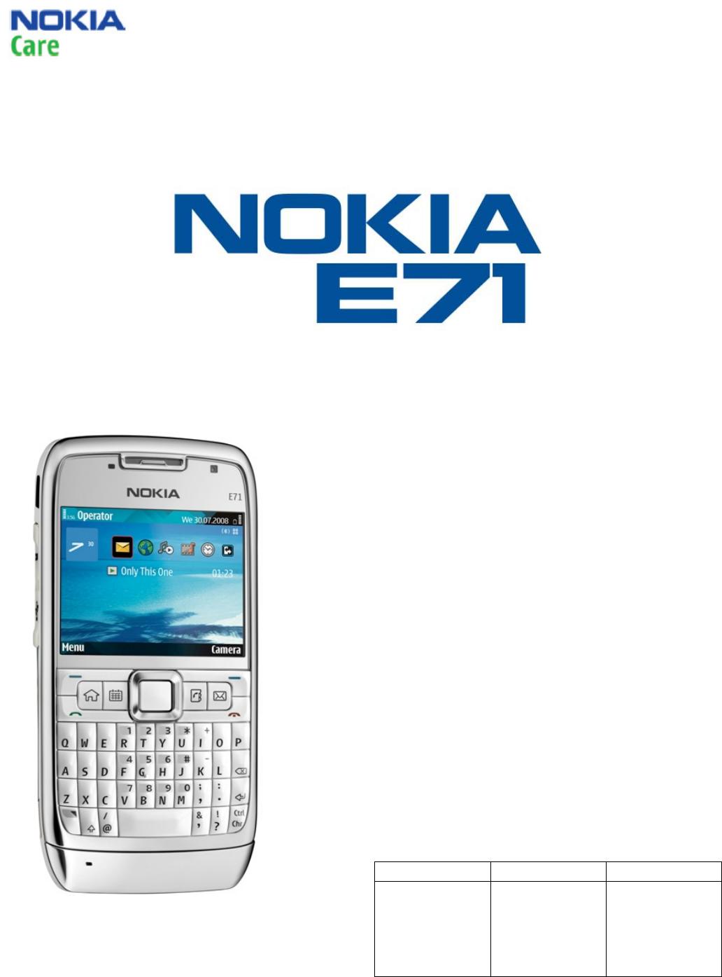 Nokia Standard E71 Rm 346, 357, 407 Service Manual 1,2