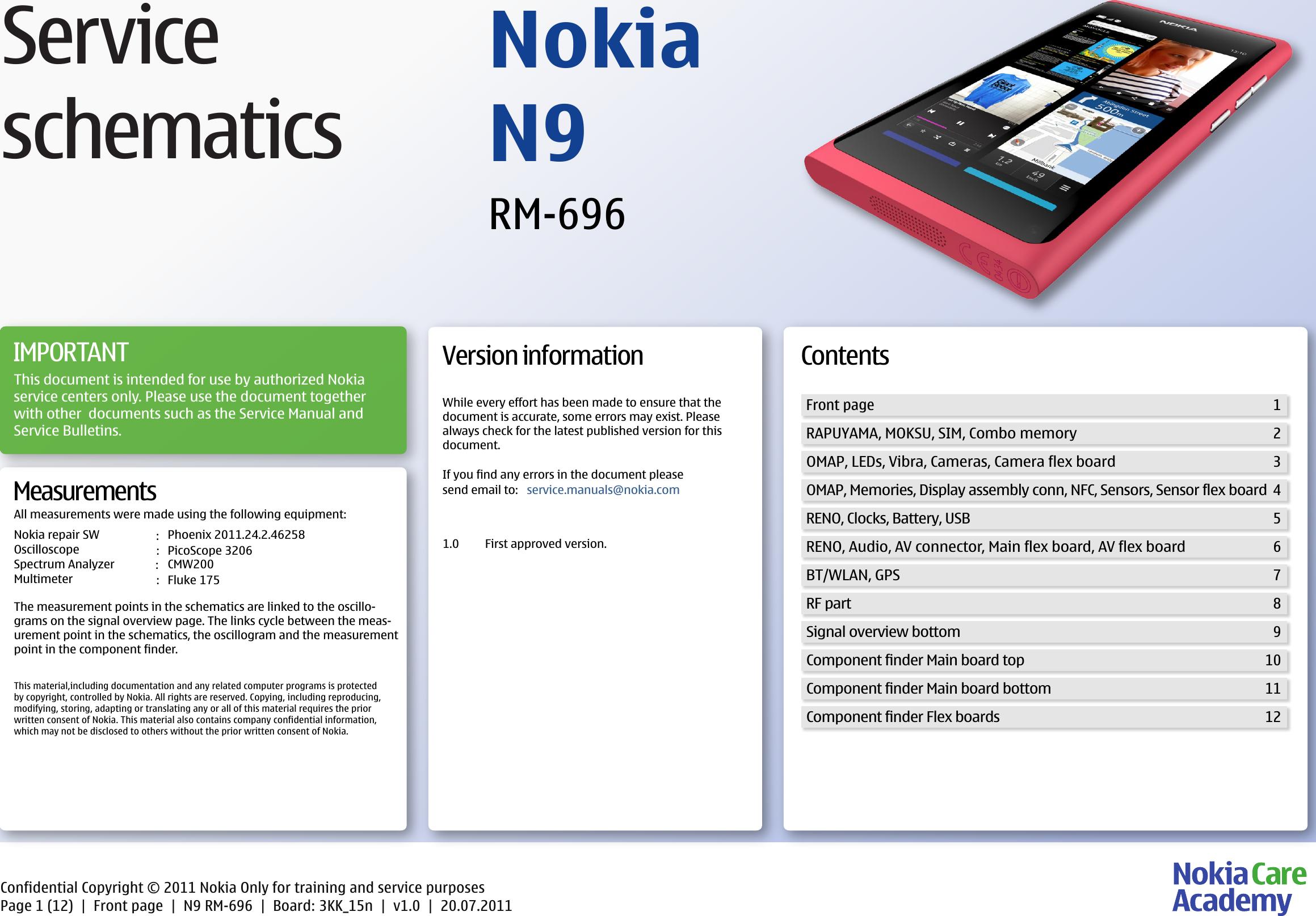 Nokia N9 RM 696 Full Service Schematics V1