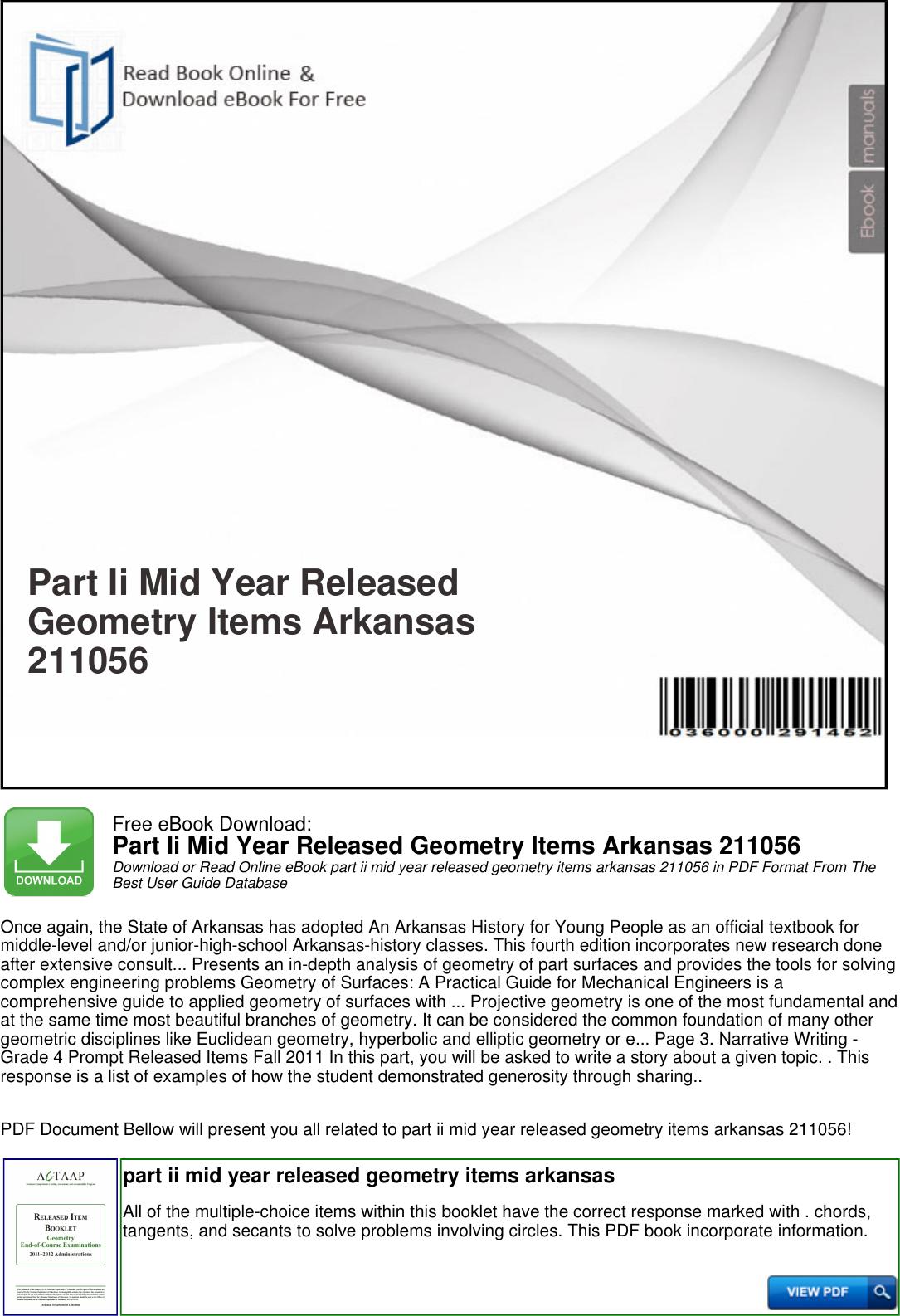 Part Ii Mid Year Released Geometry Items Arkansas 211056