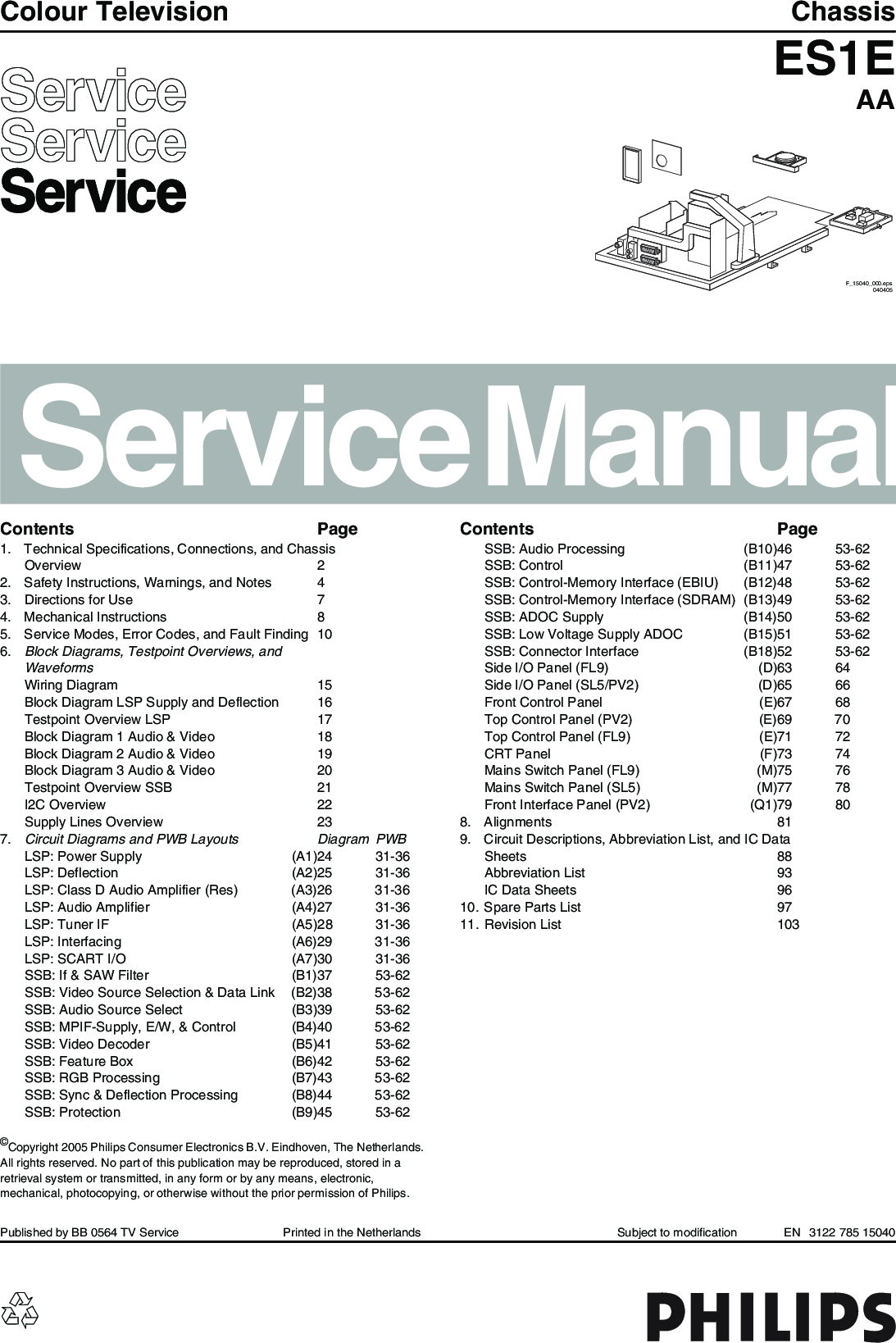 Philips Chassis Es1e Aa Service Manual S Manualscom Tv Ch The G8 Electronics Nb This Section Is Under Development