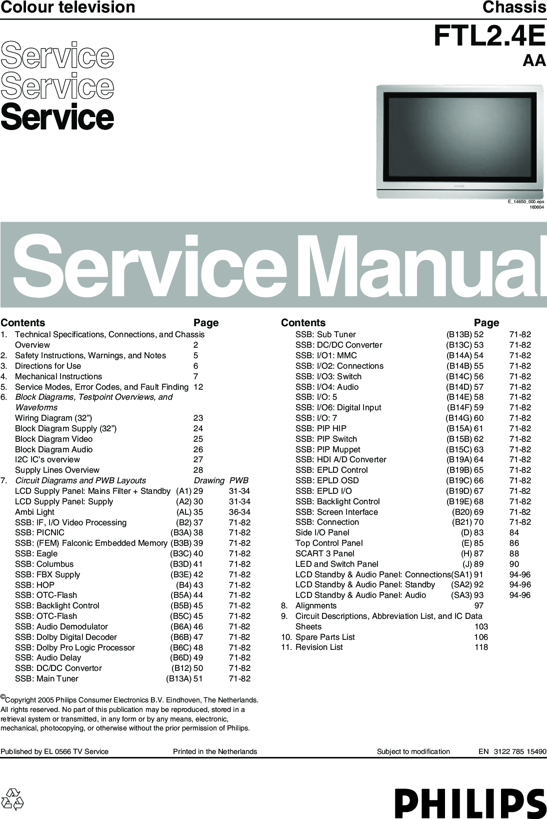 Philips Chassis FTL2 4E AA Service Manual  Www s manuals com