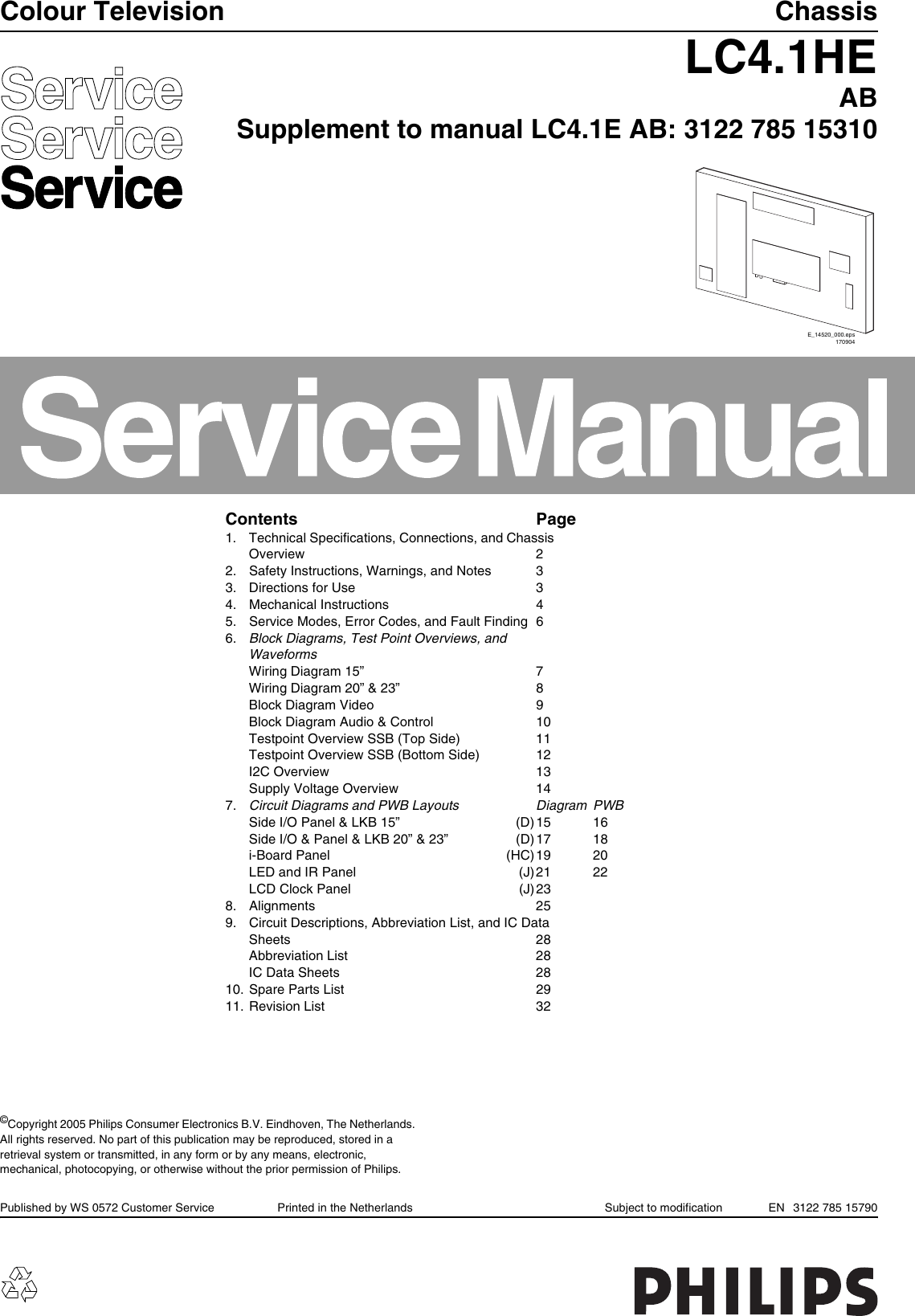 Philips Chassis Lc41he Ab Service Manual S Manualscom Tv Ch A B C Circuit Diagram
