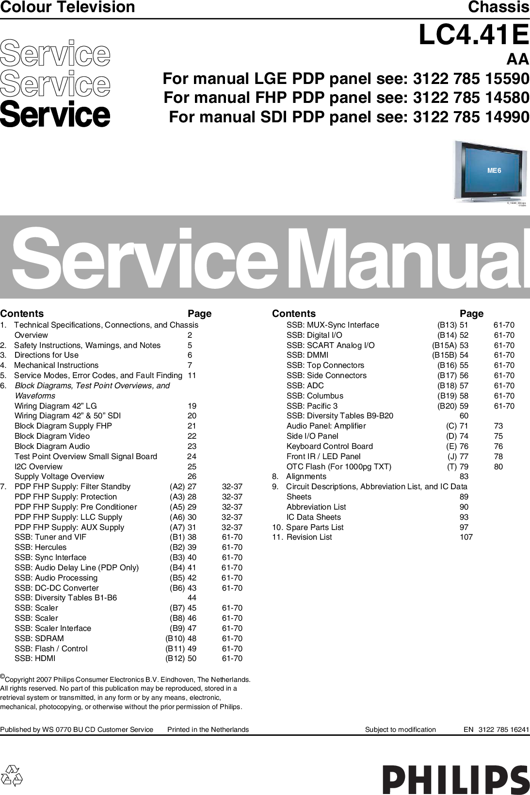 Philips Chassis LC4 41E AA Service Manual  Www s manuals com
