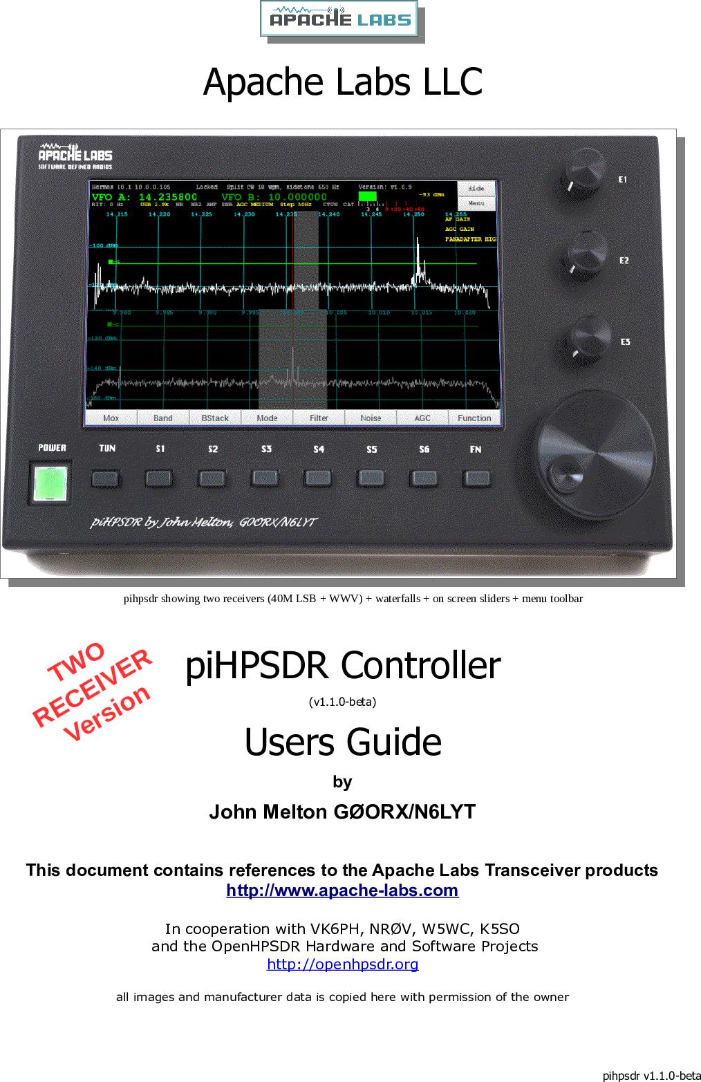 PiHPSDR Controller Users Guide Pi HPSDR v1 1 0