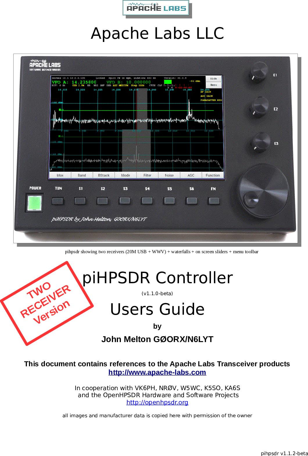 PiHPSDR Controller Users Guide Pi HPSDR v1 1 3
