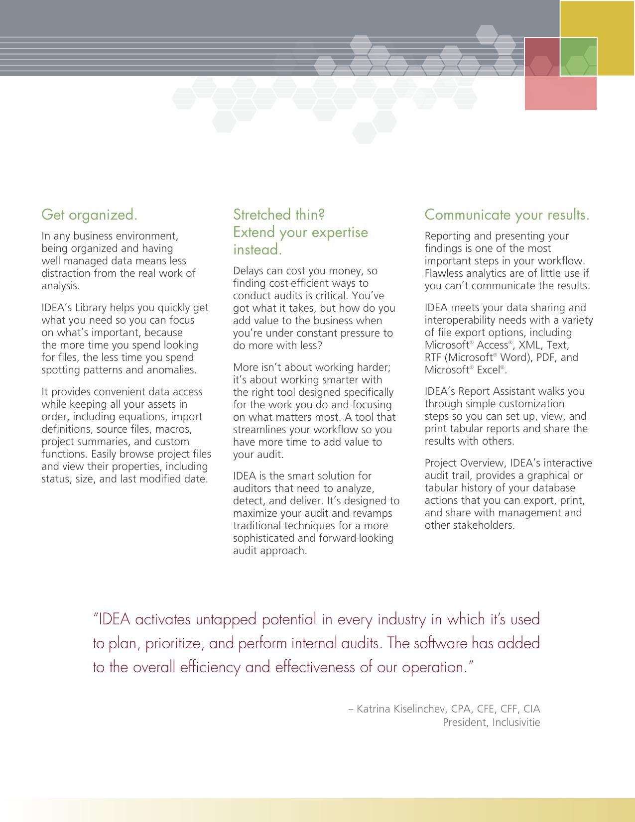 IDEA Version Nine Product Profile