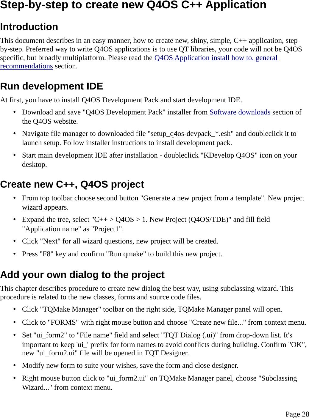 Q4OS User Manual guide